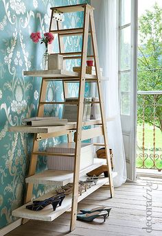 Ladder made into shelf - ahh, i've always wanted to do this. especially with the really cool orchard ladders on the property.