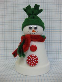 Snowman Crafts Clay Pot with Styrofoam Snowman Christmas Decorations, Christmas Ornament Crafts, Snowman Crafts, Noel Christmas, Christmas Crafts For Kids, Christmas Projects, Holiday Crafts, Snowman Wreath, Holiday Activities