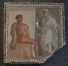 Mosaic depicting Orestes and Iphigenia. 2nd-3rd century AD. Orestes was the main character in Aeschylus's Oresteia.