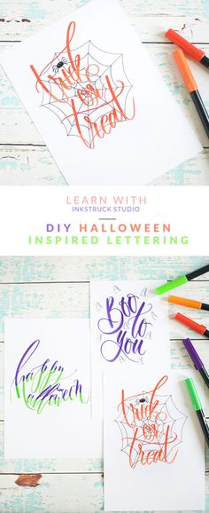Halloween brush lettering tutorial - Dawn Nicole Designs Halloween Hand Lettering: Three fun ways. Get those Tombow Dual Tip Brush Markers ready for 3 Fun Ways to do Halloween Hand Lettering. Halloween Letters, Halloween Doodle, Halloween Cards, Halloween Diy, Halloween Activities, Calligraphy Letters, Typography Letters, Modern Calligraphy, Japanese Calligraphy
