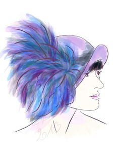 """MissFisher fan Cécile Rousse writes, """"I had lots of fun drawing Essie Davis in her Miss Fisher's Murder Mysteries hat, such a stylish show, I love it!"""""""