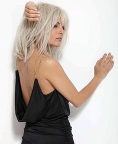 Medium long gray hair