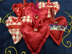 a selection of the heart decorations that I have made for friends and loved ones this year :) Heart Decorations, Christmas Decorations, Red Leather, Christmas Crafts, Friends, Inspiration, Biblical Inspiration, Amigos, Xmas Crafts