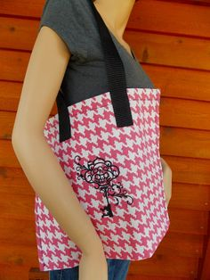 Pink gingham skeleton key handmade embroidered tote