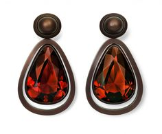 Hemmerle Earrings, brown patinated copper, white gold, brown tourmalines