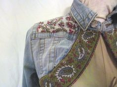 Boho Denim Bolero  Size Medium  Upcycled Jean Jacket by emmevielle, $54.47