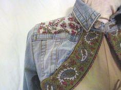 Boho Denim Bolero  Size Medium  Upcycled Jean Jacket by emmevielle