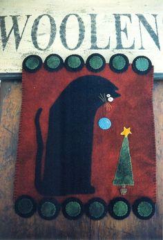 PRIMITIVE WOOL PENNY RUG PATTERN BLACK CAT CHRISTMAS TREE STAR ORNAMENT  *NEW*