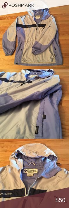 🌟Last Chance:Columbia Packable Jacket Periwinkle shades / mix of colors, doubtable and reliable. Water resistant. Cinch-able hood, waist and bottom of coat! Good condition, little wear, see last photo. 100% Nylon. Columbia Jackets & Coats
