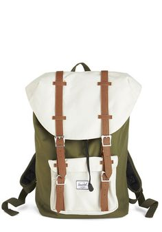 Out in the Field Backpack. Before heading out to snap your favorite subjects, slip your laptop and supplies into the roomy interior of this colorblocked, neutral backpack by Herschel Supply Co.! #greenNaN