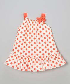 Take a look at the Kids Headquarters Neon Orange Polka Dot Swing Dress - Infant, Toddler & Girls on #zulily today!
