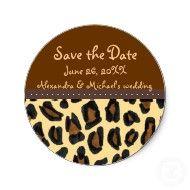 Leopard Fur Save the Date sticker