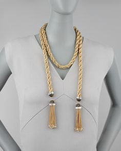 """DIY Inspiration to take Gold Home Decor Tassel Tie Backs and add beads to make it a gorgeous wrap necklace! Rachel Zoe Long Tassel-End Necklace, 54""""L - #NeimanMarcus"""