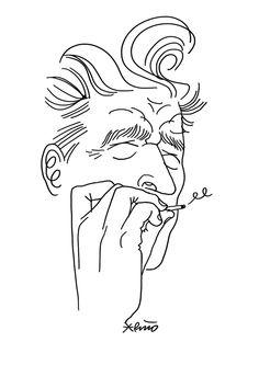 David Lynch fumando para una jam de ilustradores.  David Lynch smoking for an illustration jam. By Puño