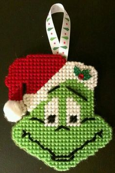 The Grinch plastic canvas ornament by sanzosgal on DeviantArt - Plastic canvas ornaments - unique crafts Plastic Canvas Stitches, Plastic Canvas Coasters, Plastic Canvas Ornaments, Plastic Canvas Crafts, Free Plastic Canvas Patterns, Grinch Ornaments, Star Ornament, Christmas Ornaments, Xmas