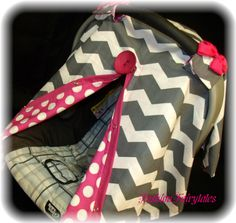 Carseat Canopy Chevron Hot Dot Girl FREESHIPPING. $38.99, via Etsy.