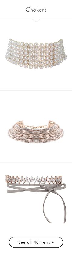 """""""Chokers"""" by sentioinfinitum ❤ liked on Polyvore featuring jewelry, necklaces, accessories, chokers, jewels, multiple, jeweled choker necklace, braided pearl necklace, pearl choker and silver bead necklace"""