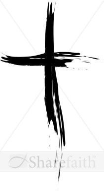This simple, eloquent cross is made with slender black brush strokes. The top and left sides are more solid and slender, growing broader and more sparse toward the bottom and right.