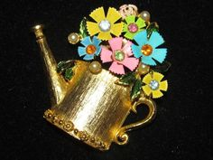 Watering Can Gold Tone Brooch