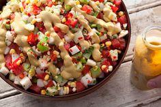 Tomato, Tomatillo, and Corn Salad with Avocado Dressing