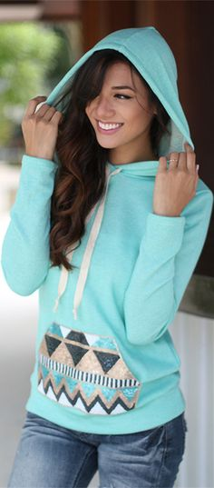 Mint Hoodie With Sequin Pocket