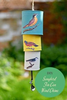 Upcycle some old tin cans with paint and pretty songbirds decoupage to make a beautiful tin can wind chime for your garden. Upcycle some old tin cans with paint and pretty songbirds decoupage to make a beautiful tin can wind chime for your garden. Tin Can Crafts, Diy Crafts, Upcycled Crafts, Handmade Crafts, Decorative Crafts, Upcycled Home Decor, Handmade Headbands, Handmade Rugs, Carillons Diy