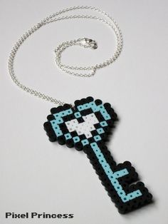 Perler Bead Pastel Blue Heart Key Necklace