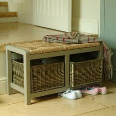 small bench with storage baskets