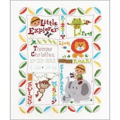 Counted Cross Stitch Kit - Little Explorer Birth Record