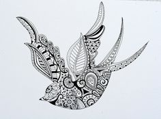 Hand Drawn Henna Style Swallow on Etsy, $31.81 CAD