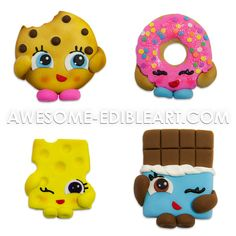 Fondant Cake Toppers Set: Inspired in Shopkins by AwesomeEdibleArt