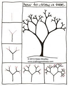 "How to draw a tree step by step. This tutorial makes so much sense! Nice for a ""through the seasons"" project, like with ""Seasons of Arnold's Apple Tree""."