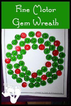 Fine Motor Gem Wreath - 3Dinosaurs.com