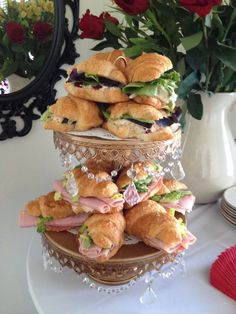 Mini Ham and Swiss on Mini Croissants Chicken Salad Croissant, Croissant Sandwich, Swiss Chicken, Mini Croissants, Drink Display, Easy Sandwich Recipes, Mini Sandwiches, Mothers Day Brunch, Mini Foods