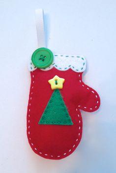 DIY Christmas Tree Felt Mitten Ornament KIT by StampandScrap, $4.00