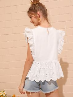 To find out about the Eyelet Embroidered Ruffle Cuff Blouse at SHEIN, part of our latest Blouses ready to shop online today! Ruffle Fabric, Ruffle Blouse, Peplum, Casual Tops For Ladies, Holiday Outfits Women, Stylish Outfits, Fashion Outfits, Lace Collar, Blouse Vintage