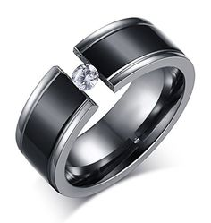 Bishilin Titanium Ring Men Cylindrical Men Wedding Band Titanium Men Ring Hip Hop