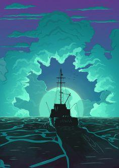 Bigger Boat Art Print by Jon Robert Baker - X-Small Jaws Movie, Jaws 4, Future Wallpaper, Boat Art, Futuristic Art, Great White Shark, Creature Feature, Ship Art, Horror Films