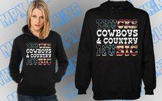 Trucks Cowboys & Country Music Womens Hoodie Sweatshirt by MPXLV