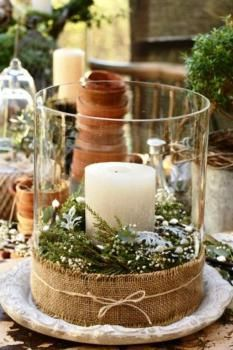 See more about winter wedding centerpieces, christmas centerpieces and christmas candles. Noel Christmas, Country Christmas, All Things Christmas, Winter Christmas, Burlap Christmas, Natural Christmas, Beautiful Christmas, Christmas Wedding, Outdoor Christmas
