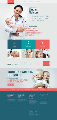 Prior to buying it, take a closer look at this beautiful Pediatrician Responsive Website Template ( - get to know technical details and requirements, read user testimonials, ask a question. One Page Website, Website Web, Website Layout, Corporate Design, Doctor For Kids, Children Doctor, Website Templates, Website Designs, Website Ideas