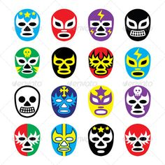 Mexican Wrestling Masks Icons