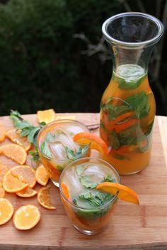 Tangerine or mandarin mojito – Latin Cocktails – Laylita's Recipes Mandarin Juice, Tangerine Juice, Refreshing Drinks, Summer Drinks, Fun Drinks, Alcoholic Drinks, Beverages, Cocktail, Jars