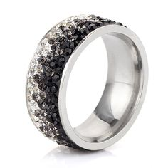 NIBA 보석 매력 반지 AAA 크리스탈 뜨거운 판매 우아한 스테인레스 스틸 반지