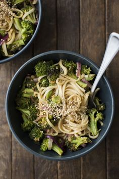 A quick vegetarian noodle bowl, these peanut noodles with roasted broccoli are quick, hearty, and can be easily adapted to produce you might have on hand.