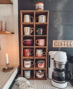 Metal Coffee Sign – coffee stations at home small spaces Coffee Area, Coffee Nook, Coffee Bar Home, Home Coffee Stations, Coffee Corner Kitchen, Coffee Mug Display, Kitchen Small, Coffee Coffee, Diy Kitchen Storage