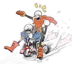 amazing... Sans and Papy on a tricycle.