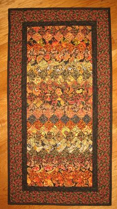 Black and Gold Paisley Art Quilt Kashmir Rug Quilted Wall Hanging Orange Rust…