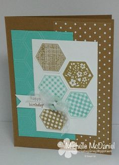 Six - Sided Sampler & Hexagon Punch; In Colors Baked Brown Sugar and Coastal Cabana Cute Cards, Diy Cards, Card Making Inspiration, Making Ideas, Scrapbook Cards, Scrapbooking, Happy Birthday Cards Handmade, Hexagon Cards, Diy Wrapping Paper