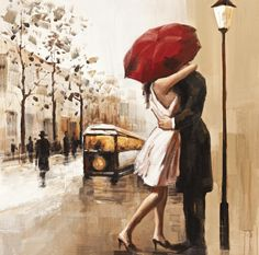 Couples umbrella love street painting home decor wall art canvas art bar cafe Bedroom Living Room-in Painting & Calligraphy from Home & Garden on Aliexpress.com | Alibaba Group